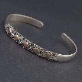 Srebrna bransoletka bangla z 18-karatowym złotem