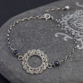 Srebrna bransoletka z szafirem