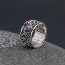 Srebrny pierścionek z ametystem (rozm.18)