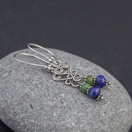 Srebrne kolczyki z lapisem lazuli i turkusem