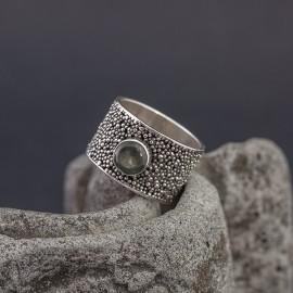 Srebrny pierścionek z akwamarynem (rozm.17)