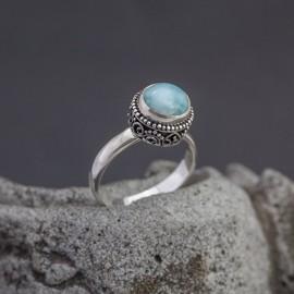 Srebrny pierścionek z larimarem (rozm.14)