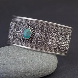 Srebrna bransoleta z turkusem