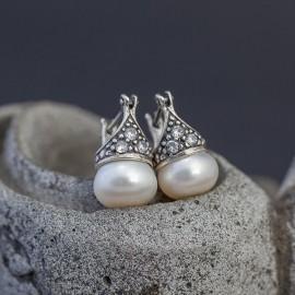 Srebrne kolczyki z perłą i cyrkoniami
