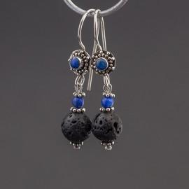 Srebrne kolczyki z lawą wulkaniczną i lapisem lazuli