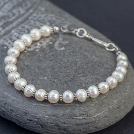 Srebrna bransoletka z pereł słodkowodnych