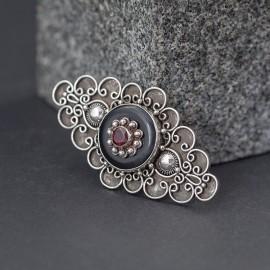 Wyjątkowa broszka ze srebra i granatu