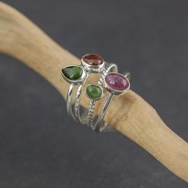 Srebrne pierścionki z turmalinem (rozm.17)