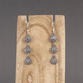Srebrne ręcznie zdobione kolczyki