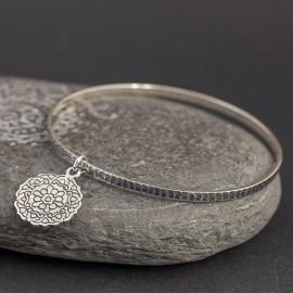 Srebrna bransoletka z mandalą